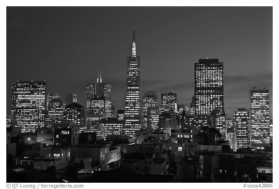 Financial district skyline at dusk. San Francisco, California, USA (black and white)