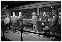 Wax figures of scientists with one outlier, Madame Tussauds. San Francisco, California, USA (black and white)
