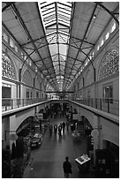Main gallery inside Ferry Building. San Francisco, California, USA ( black and white)