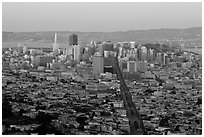 San Francisco cityscape with last sunlight from Twin Peaks. San Francisco, California, USA ( black and white)