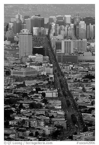 Market Avenue and downtown viewed from above at sunset. San Francisco, California, USA (black and white)