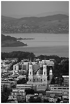 St Ignatius church, USF, and San Francisco Bay at sunset. San Francisco, California, USA (black and white)