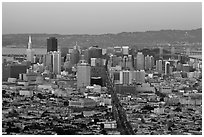 San Francisco skyline view from above at dusk. San Francisco, California, USA (black and white)