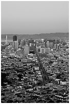 San Francisco skyline view from Twin Peaks at dusk. San Francisco, California, USA ( black and white)