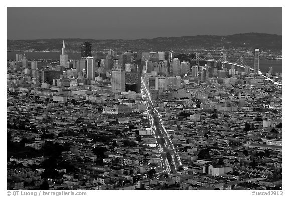 Night San Francisco cityscape. San Francisco, California, USA (black and white)