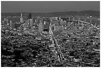 Night San Francisco cityscape. San Francisco, California, USA ( black and white)