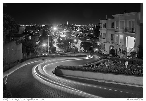 Crooked section of Lombard Street at night. San Francisco, California, USA (black and white)