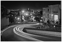 Crooked section of Lombard Street at night. San Francisco, California, USA ( black and white)