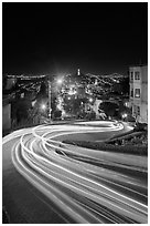 Light blurs on Lombard Street at night. San Francisco, California, USA ( black and white)