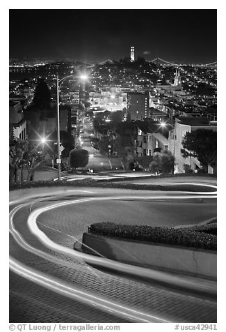 Tight hairpins turn by night on Lombard Street. San Francisco, California, USA (black and white)