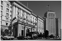 Luxury Hotels on Nob Hill. San Francisco, California, USA ( black and white)