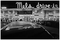 Mels drive-in restaurant at night. San Francisco, California, USA ( black and white)