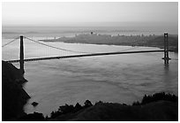 Golden Gate Bridge, San Francisco Bay, and city at dawn. San Francisco, California, USA (black and white)