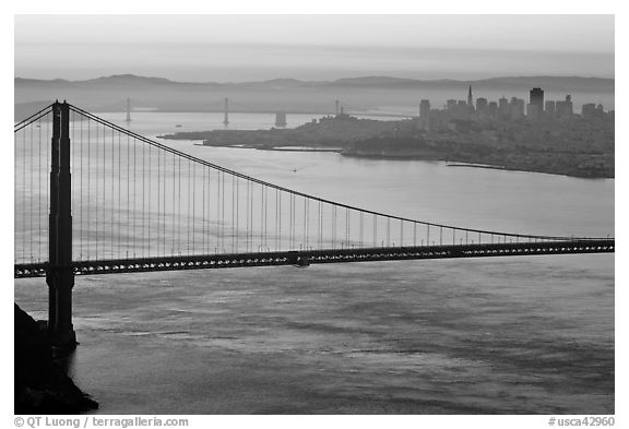 Golden Gate Bridge, San Francisco, and Bay Bridge at dawn. San Francisco, California, USA (black and white)
