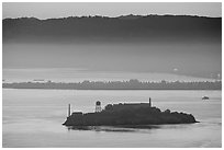 Sunrise, Alcatraz Island and Treasure Island. San Francisco, California, USA (black and white)