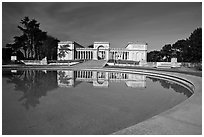 Basin reflecting California Palace of the Legion of Honor, Lincoln Park. San Francisco, California, USA (black and white)