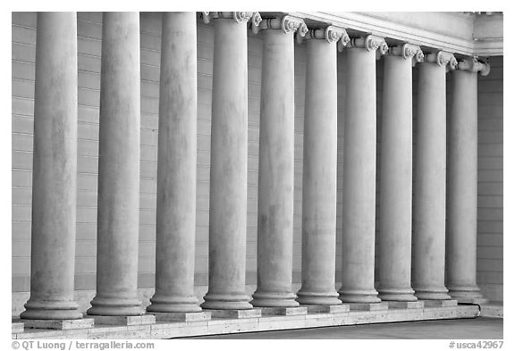 Row of columns, Legion of Honor, early morning, Lincoln Park. San Francisco, California, USA (black and white)