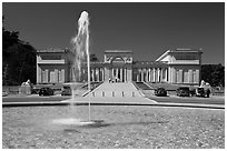 Fountain and California Palace of the Legion of Honor, marking terminus of Lincoln Highway. San Francisco, California, USA (black and white)