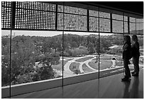 Observation room on top of Hamon Tower, De Young museum, Golden Gate Park. San Francisco, California, USA (black and white)