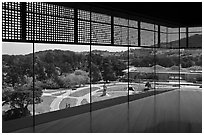 View over California Academy of Sciences building from top of De Young museum. San Francisco, California, USA (black and white)