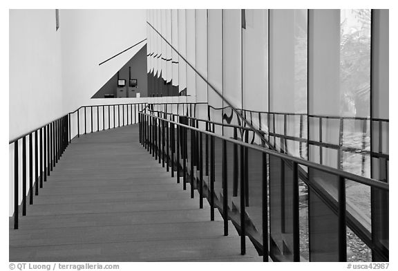 Staircase, M.H. De Young memorial museum. San Francisco, California, USA (black and white)