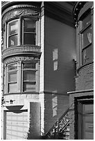 Victorian houses detail, Haight-Ashbury District. San Francisco, California, USA ( black and white)