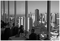View on San-Francisco downtown from rooftop restaurant. San Francisco, California, USA (black and white)