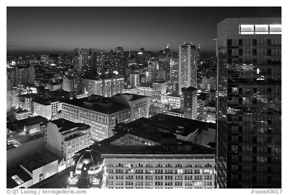Cityscape at night. San Francisco, California, USA (black and white)