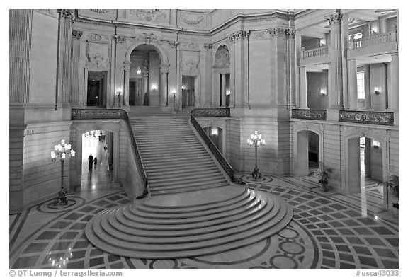 Grand staircase inside City Hall. San Francisco, California, USA (black and white)