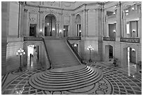 Grand staircase inside City Hall. San Francisco, California, USA ( black and white)