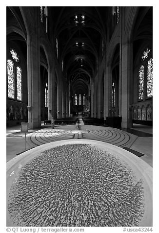 Stoup and Grace Cathedral nave. San Francisco, California, USA (black and white)
