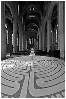 Labyrinth and nave, Grace Cathedral. San Francisco, California, USA ( black and white)