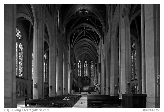 Grace Cathedral interior. San Francisco, California, USA (black and white)