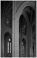 Detail of gothic-style vaulted arches, Grace Cathedral. San Francisco, California, USA ( black and white)