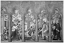 Fresco depicting the fire destroying the old Grace Cathedral, Grace Cathedral. San Francisco, California, USA ( black and white)