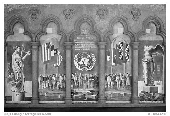 Fresco memorializing the founding of the United Nations, Grace Cathedral. San Francisco, California, USA (black and white)