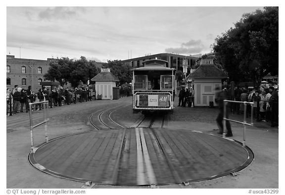 Turntable and cable car. San Francisco, California, USA (black and white)