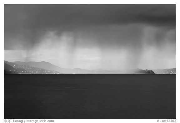Dark storm over San Francisco Bay. California, USA (black and white)