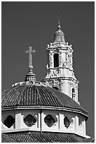 Roof and bell tower, Mission Dolores Basilica. San Francisco, California, USA (black and white)