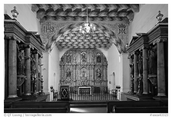 Chapel of Mission San Francisco de Asis. San Francisco, California, USA (black and white)