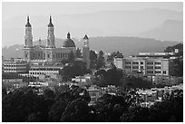 USF buildings and Saint Ignatius Church. San Francisco, California, USA (black and white)