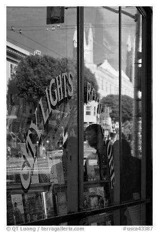 City Light Bookstore glass with church reflections, North Beach. San Francisco, California, USA (black and white)