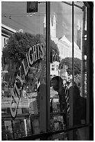 City Light Bookstore glass with church reflections, North Beach. San Francisco, California, USA ( black and white)
