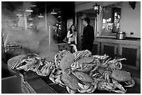 Crabs ready to be cooked, Fishermans wharf. San Francisco, California, USA ( black and white)