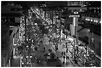 Third Street Promenade by night. Santa Monica, Los Angeles, California, USA ( black and white)