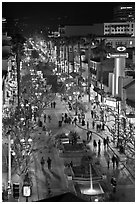 Third Street Promenade from above, night. Santa Monica, Los Angeles, California, USA ( black and white)