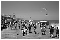 On the Santa Monica Pier. Santa Monica, Los Angeles, California, USA ( black and white)