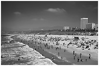 Santa Monica Beach in summer. Santa Monica, Los Angeles, California, USA ( black and white)