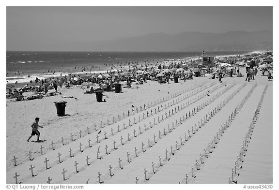 Anti-war memorial on Santa Monica beach. Santa Monica, Los Angeles, California, USA (black and white)