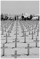 Crosses and beach unbrellas. Santa Monica, Los Angeles, California, USA ( black and white)